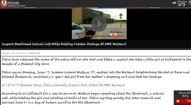CLICK FOR OKLAHOMA CHANNEL 9 NEWS COVERAGE OF ILLUMINATI CHILD KIDNAPPING ATTEMPT AT WALMART 4 DAYS BEFORE HUMAN INFANT SACRIFICE TIME.